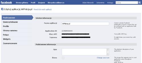 """Strona aplikacji: klucz API i""""tajemna"""""""
