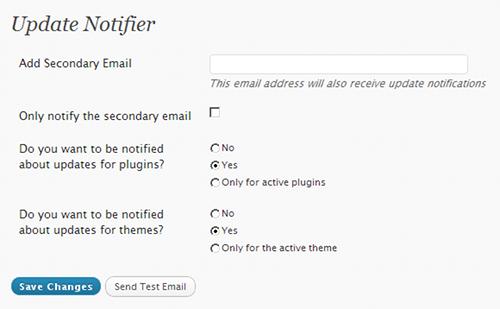 Update Notifier - opcje wpanelu administracyjnym