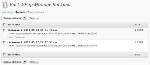 BackWPup - zakładka Backups