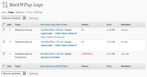 BackWPup - zakładka Logs