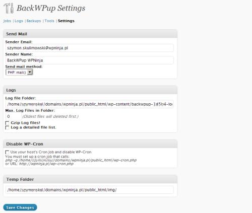 BackWPup - zakładka Settings