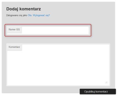 Wygląd formularza komentarzy dla użytkowników zalogowanych