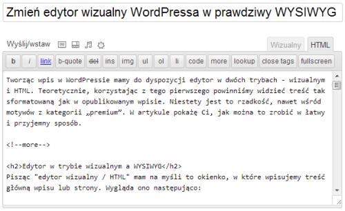 Edytor wtrybie HTML
