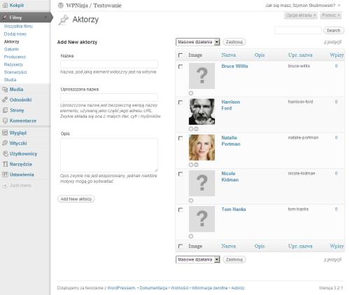 Strona taksonomii zmożliwością dodawania obrazków