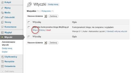 Wtyczka umieszczona wkatalogu wp-content/plugins