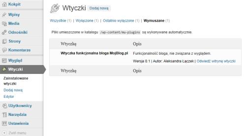 Wtyczka umieszczona wkatalogu wp-content/mu-plugins