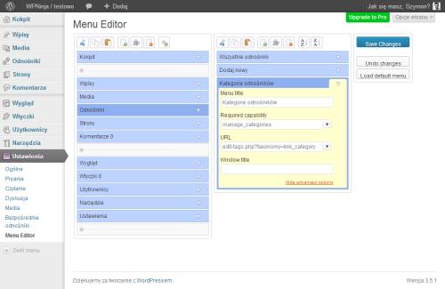 """Edycja menu - """"Admin Menu Editor"""""""