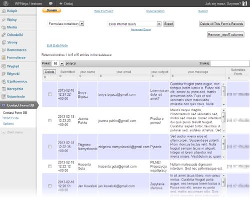"""""""Contact Form DB"""" - podgląd zapisanych formularzy"""