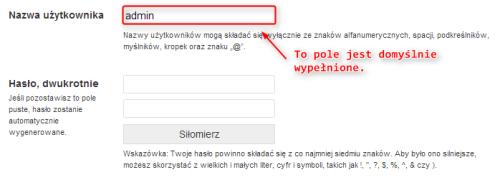 """Sugerowanie """"admin"""" jako nazwy użytkownika / WordPress 3.5.2"""