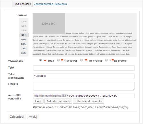 Edycja szczegółów obrazka - WordPress 3.8.3