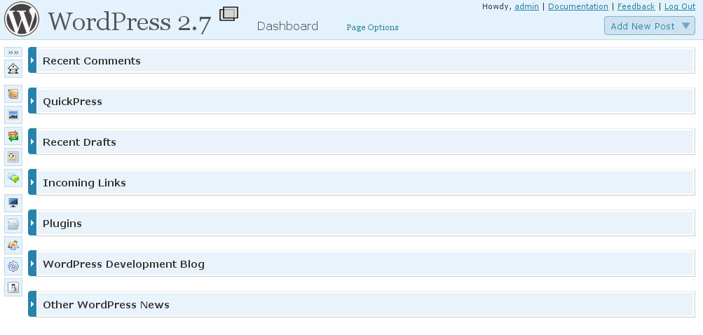 WordPress 2.7 - Nowy Dashboard