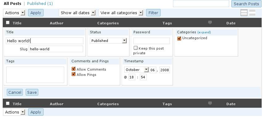 WordPress 2.7 - Szybka Edycja