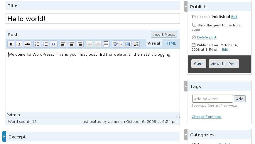 WordPress 2.7 - Edycja Wpisu