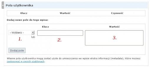 """Widok zakładki """"Pola Użytkownika"""""""